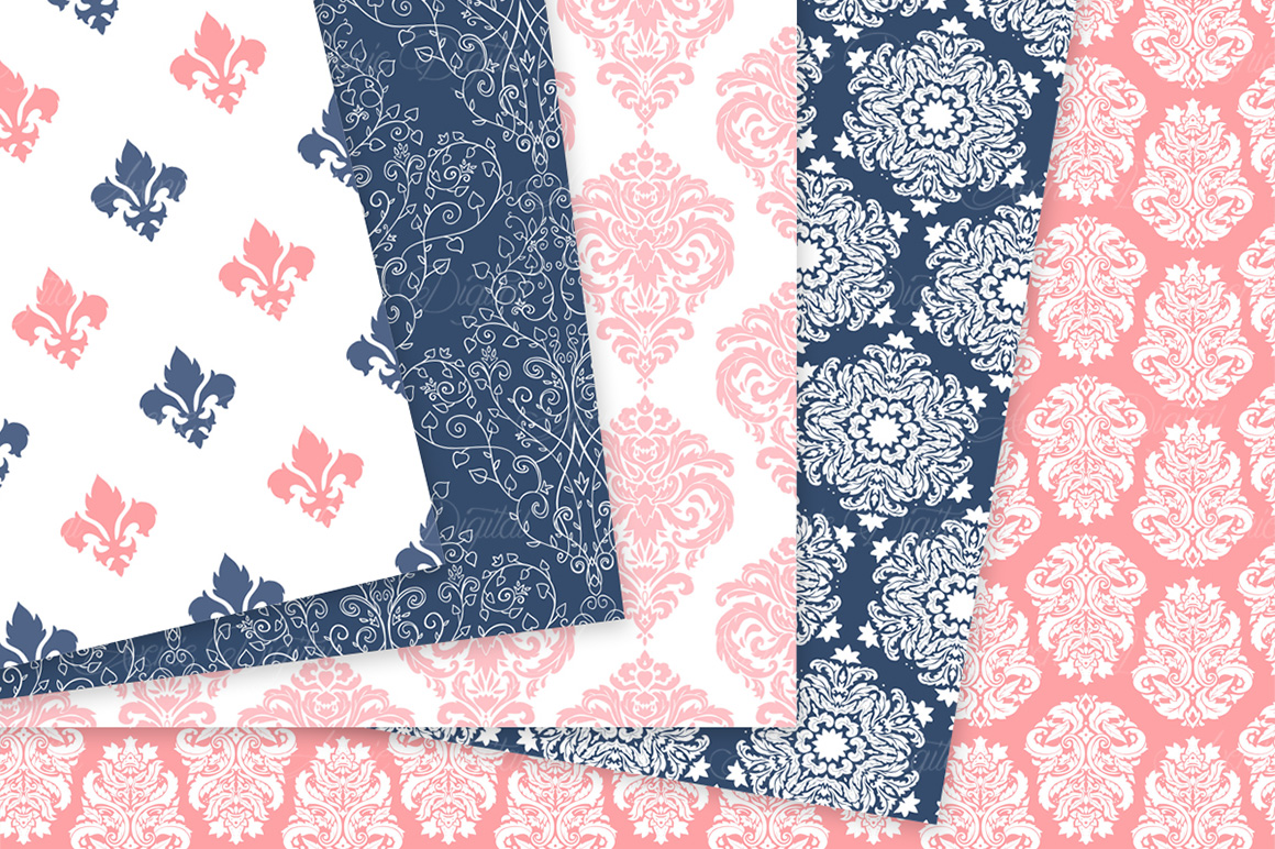 Coral and Navy Damask Patterns - Seamless Digital Papers example image 5
