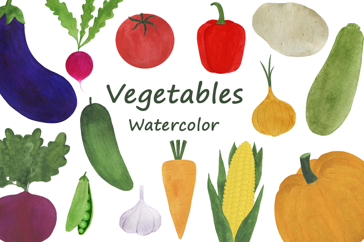 Watercolor vegetables collection example image 1