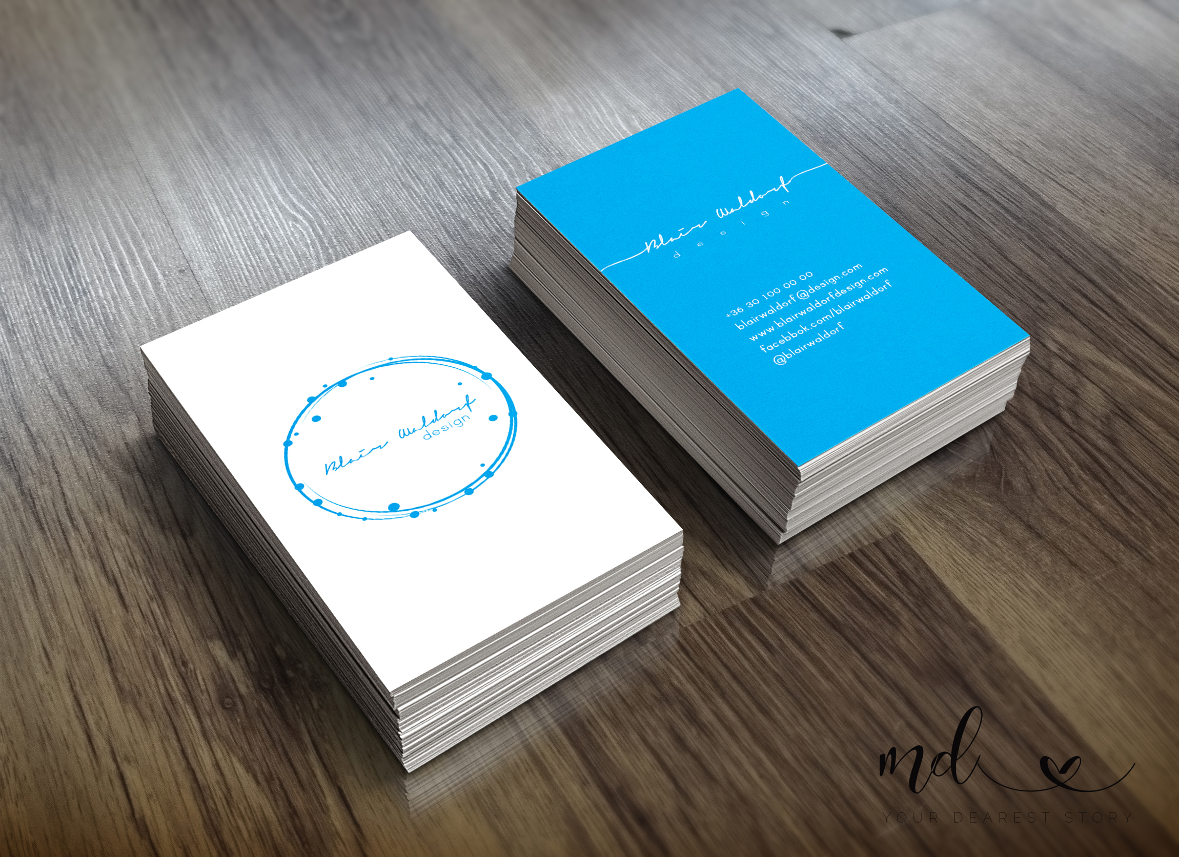 White-blue business card template example image 1