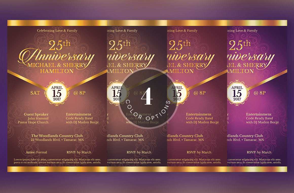Wedding Anniversary Gala Flyer Template example image 5