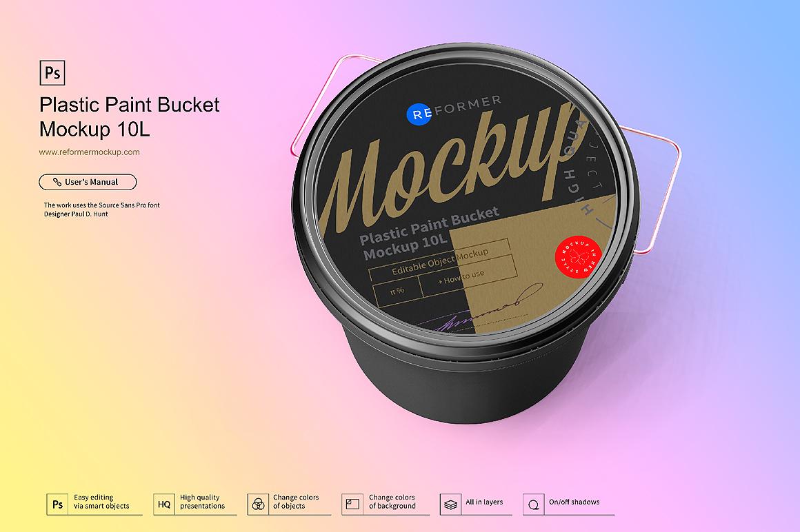 Plastic Paint Bucket Mockup example image 3