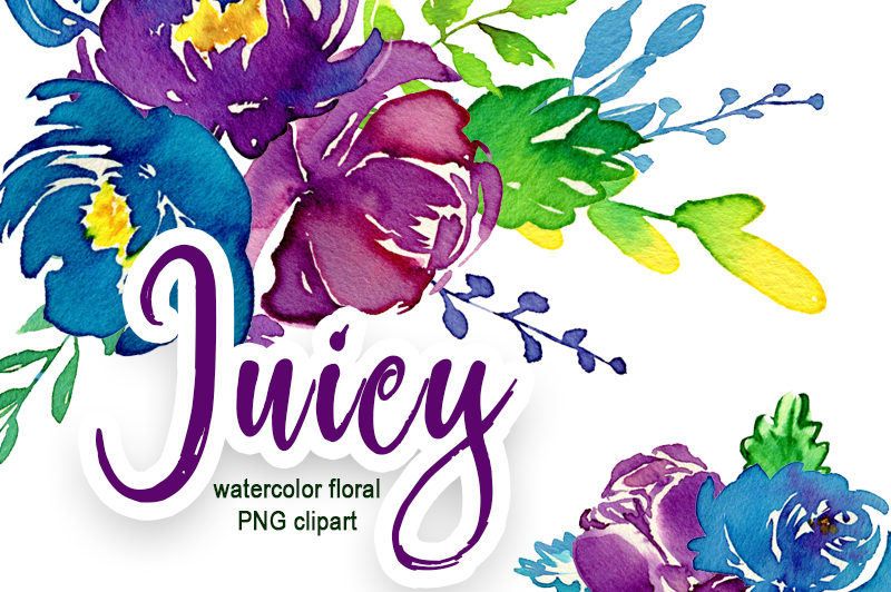 Juicy watercolor flowers PNG example image 1