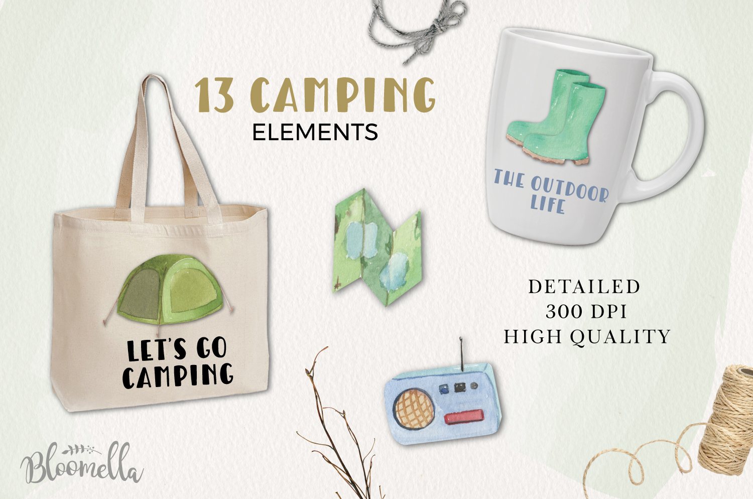 Camping Watercolor Elements example image 3