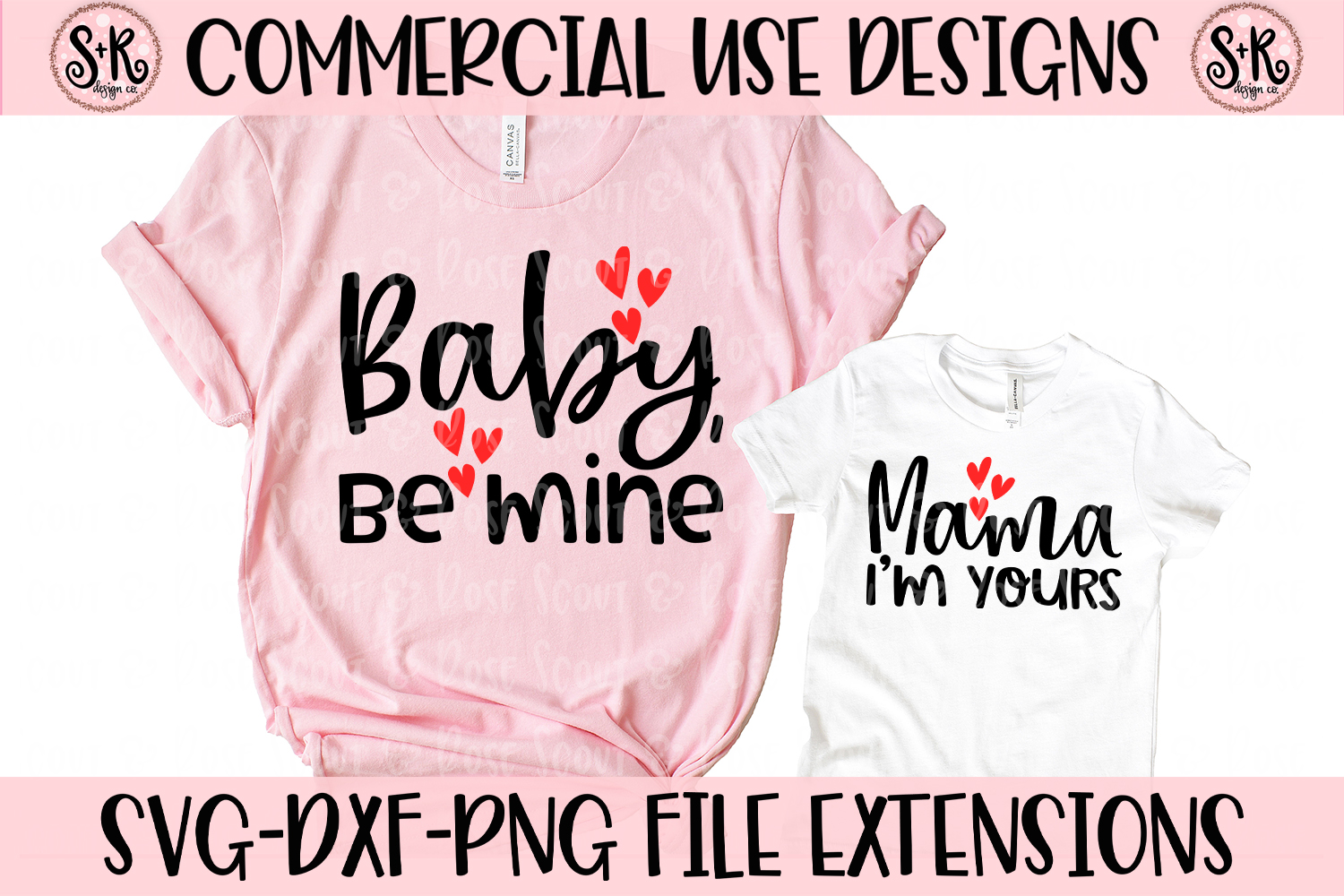 Baby Be Mine/Mama I'm Yours Mommy and Me SVG DXF PNG example image 1