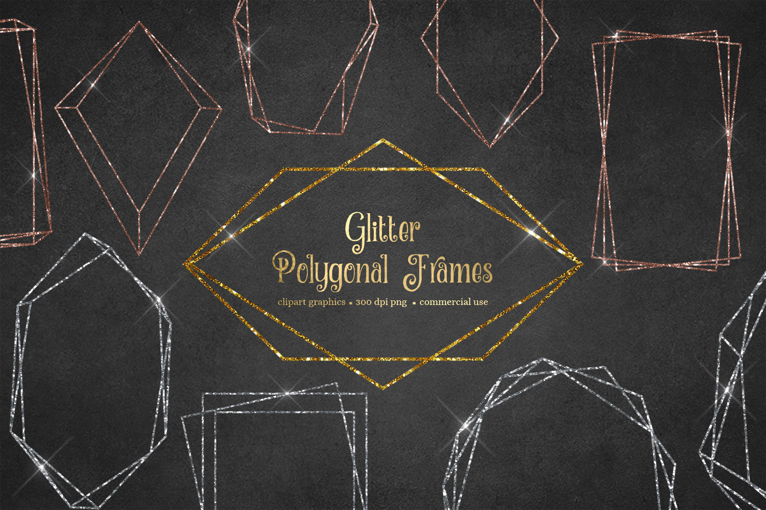 Glitter Polygonal Frames Clipart example image 1