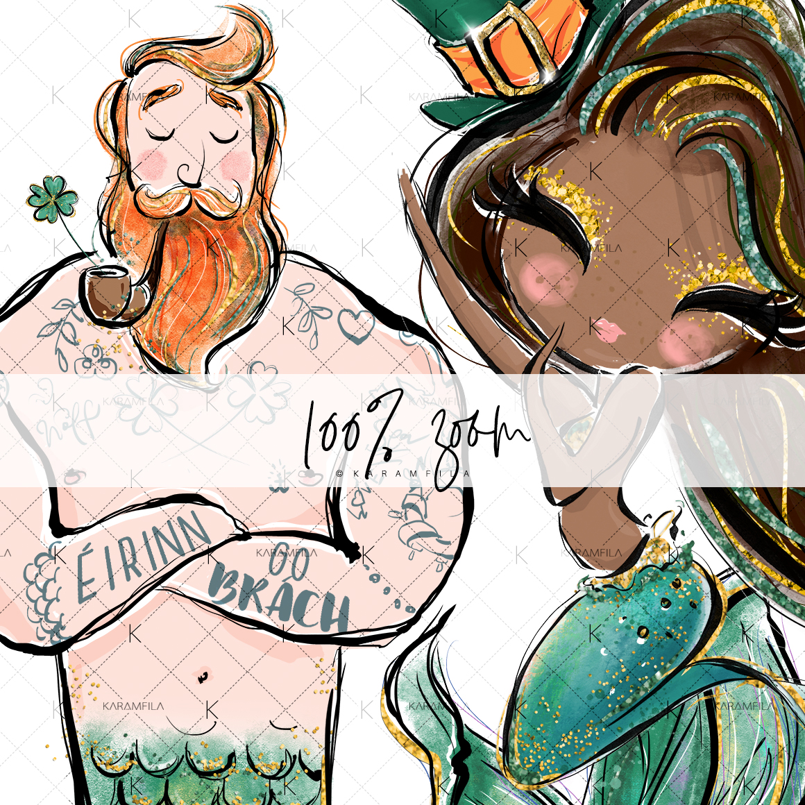 St Patrick's Mermaids Clipart example image 5