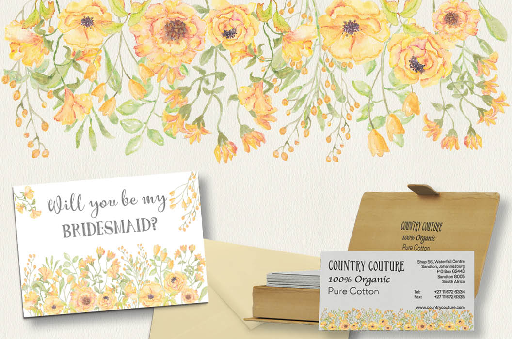 Watercolor clip art bundle: 'Buttercup Blooms' example image 3