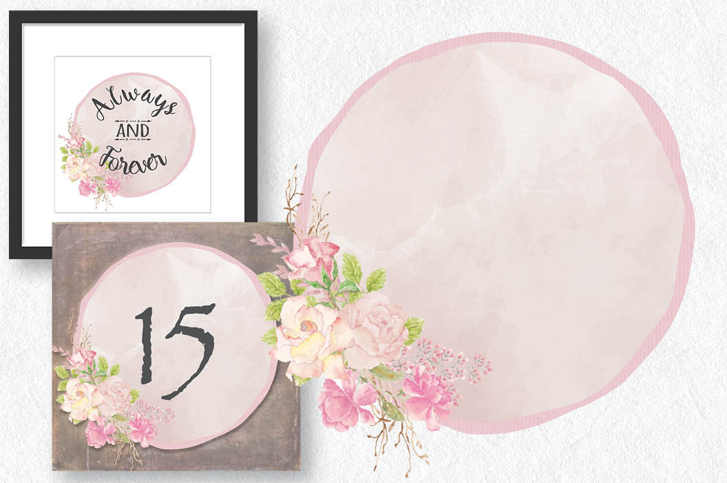 Frames with pink watercolor roses example image 4