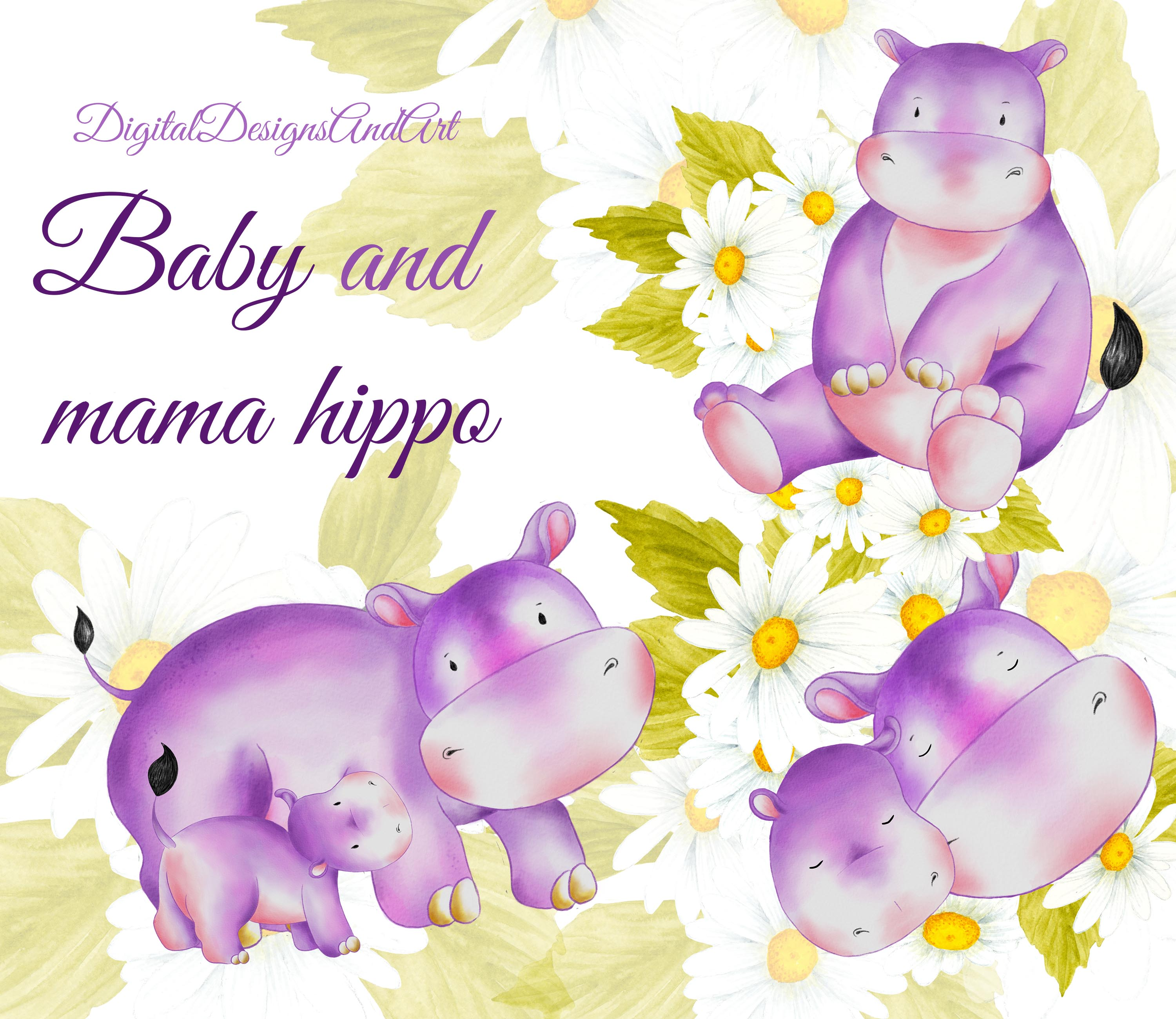 Hippo Art Images: Cute Baby And Mama Hippo Clipart