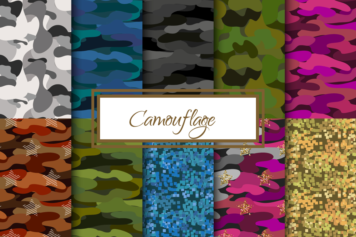 Camouflage seamless patterns example image 1