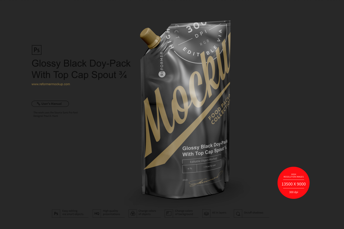 Glossy Black Doy-Pack With Top Cap Spout example image 2