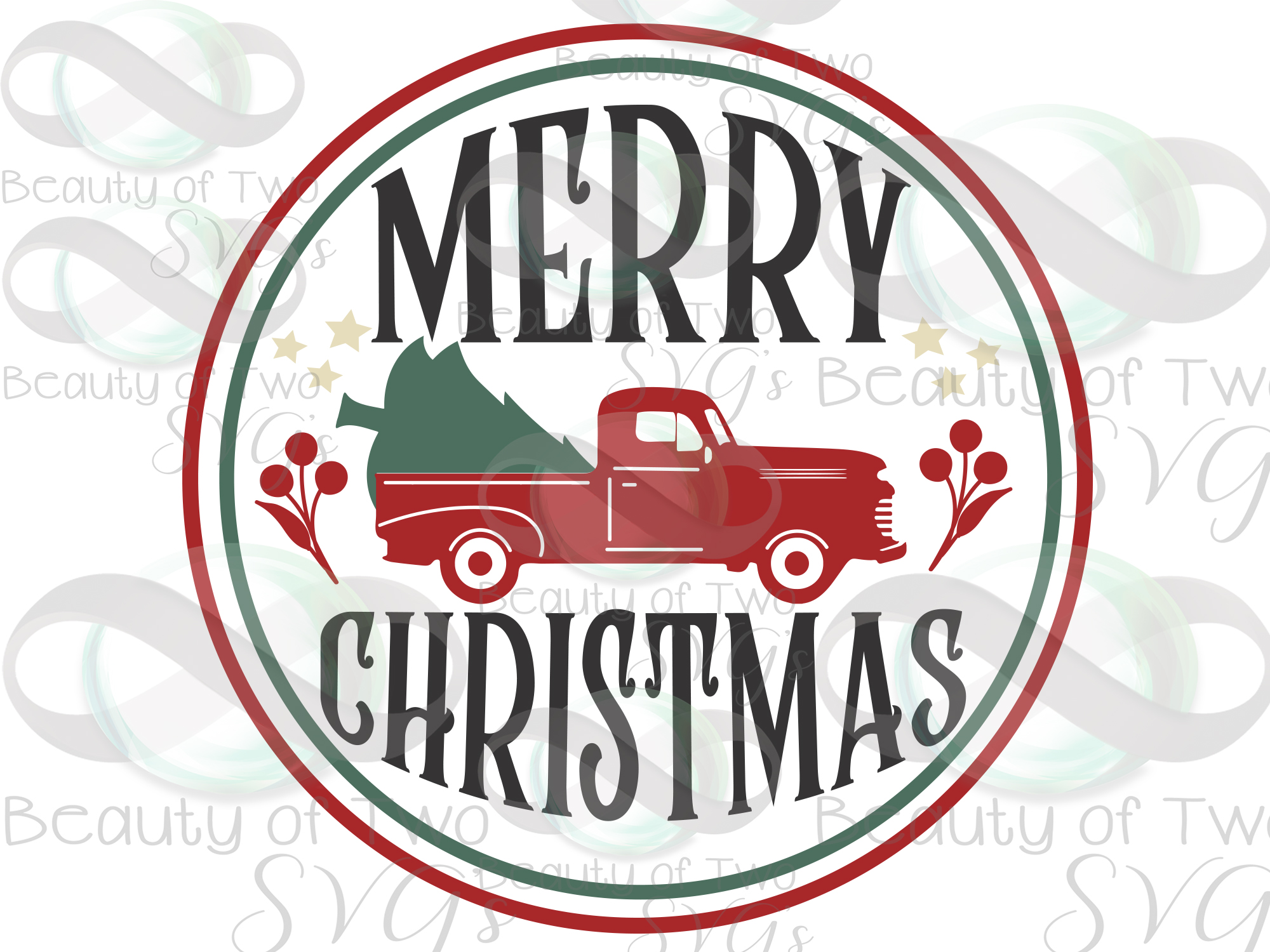 Merry Christmas Red Truck svg, Vintage Christmas sign svg example image 3