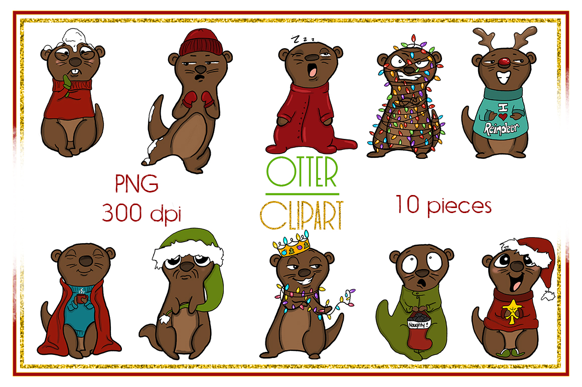 Holiday Clipart-Otter Clipart-Otter Christmas Clipart-Cartoon-Sticker Clipart-Otter art-Digital-Otter XMAS Drama-Commercial-Otter Love example image 2