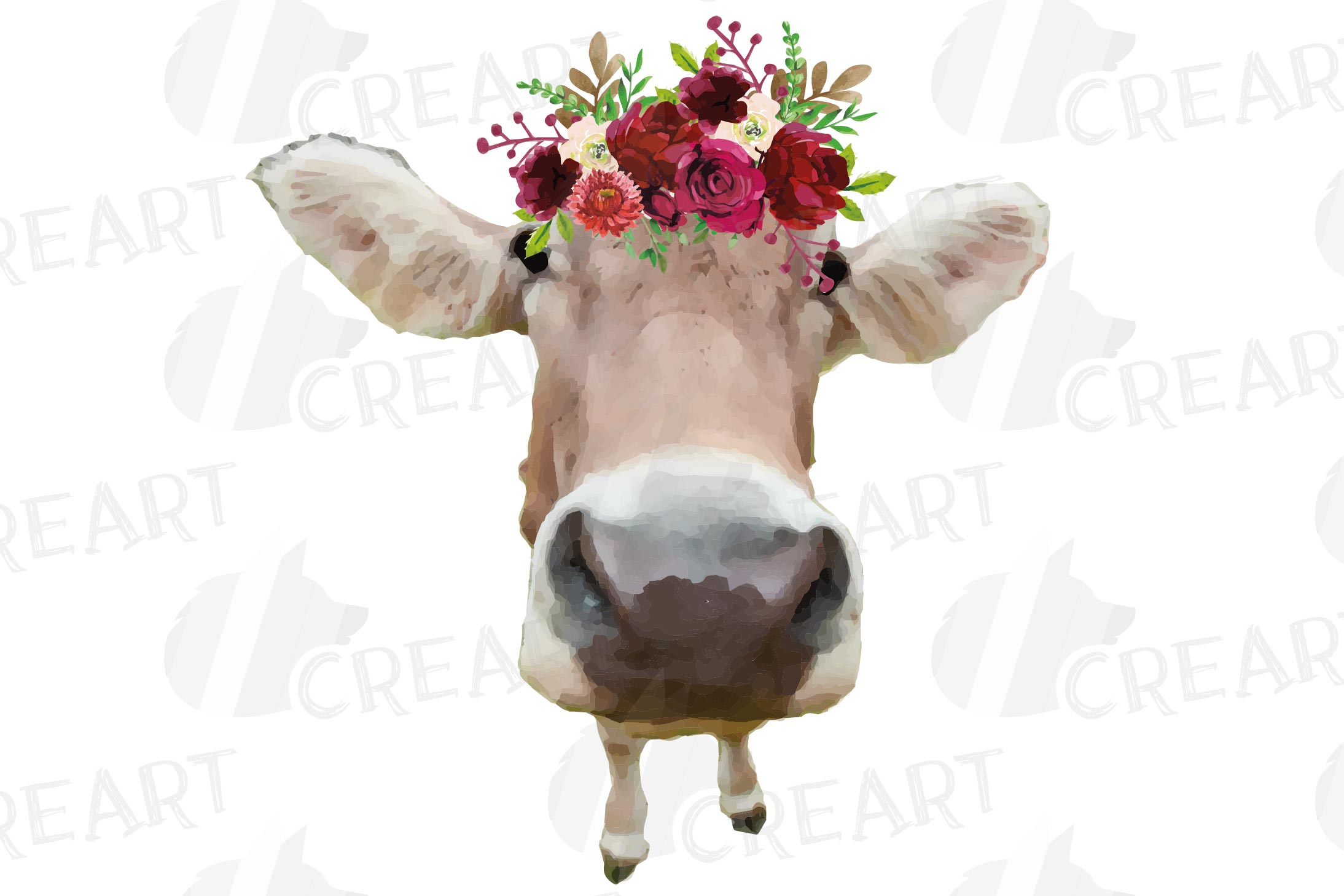Not today Heifer printable floral burgundy decor, floral cow example image 11