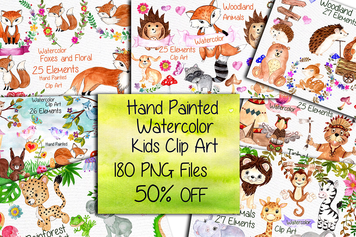 Watercolor Bundle-kids clipart example image 1