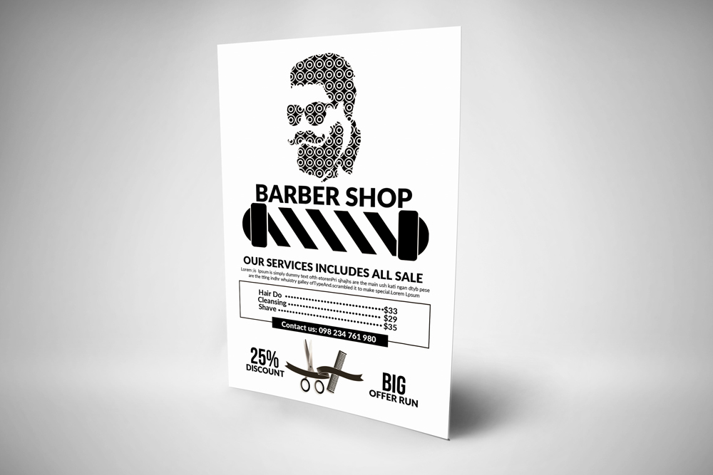 Barber Shop Psd Flyer Templates example image 3