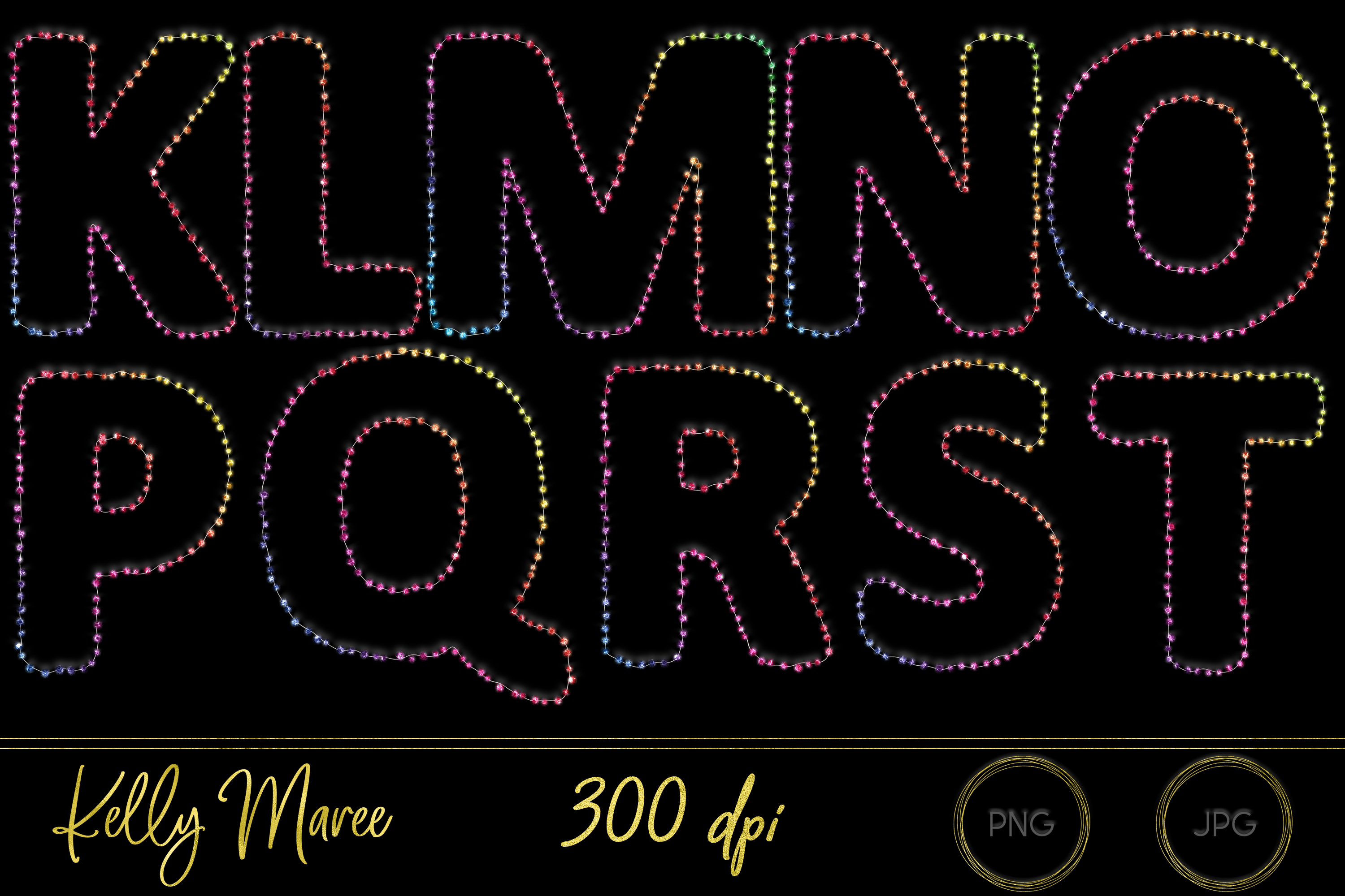 Rainbow String Lights Alphabet Graphic Bundle example image 3