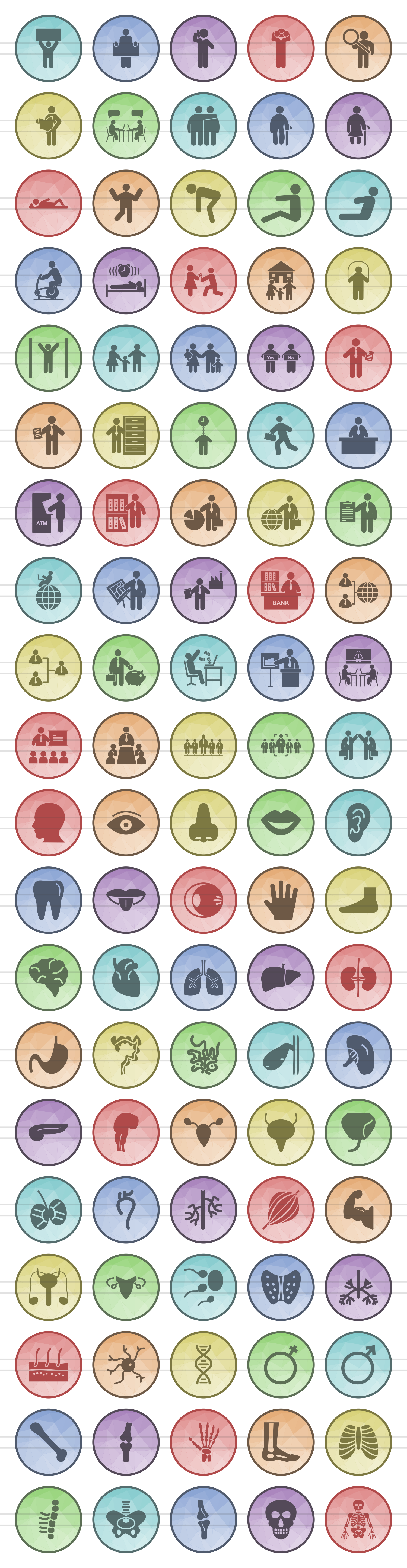 100 Humans & Anatomy Filled Low Poly Icons example image 2