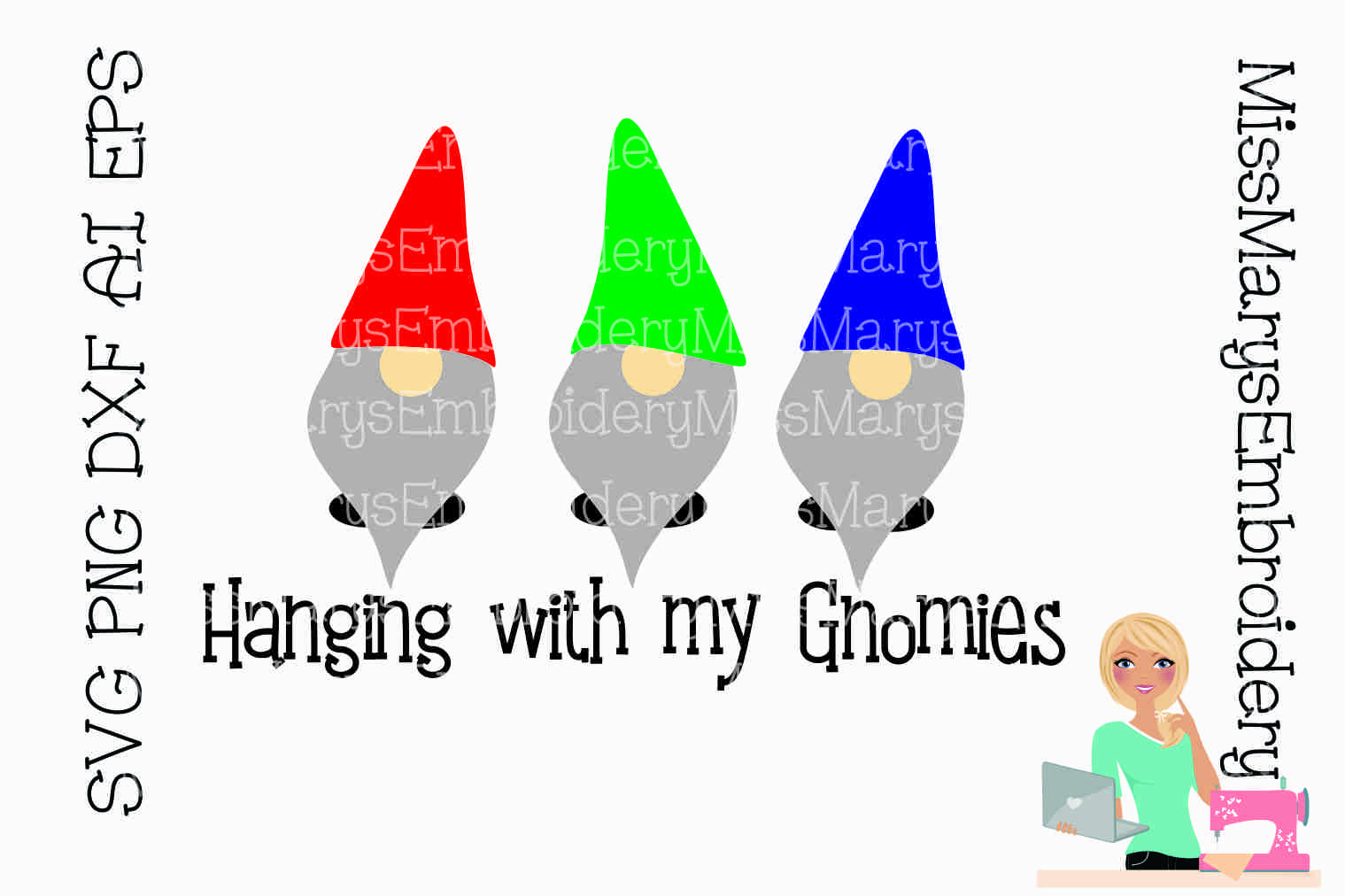 Hanging with My Gnomies SVG Cutting File PNG DXF AI EPS example image 1