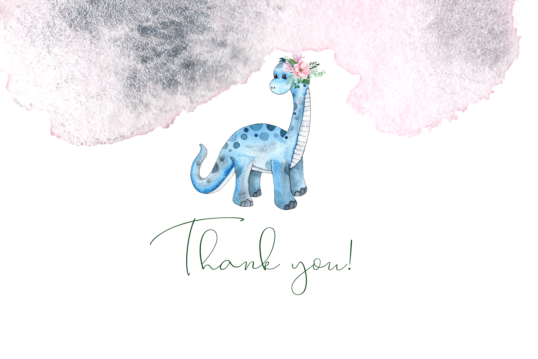 Dinosaurs. Watercolor clipart example image 19