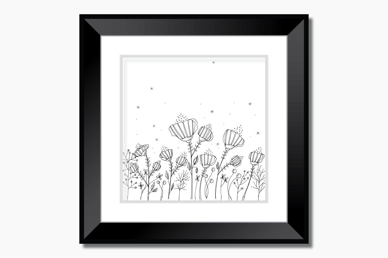 Black Floral Digital Art, A1, SVG example image 5