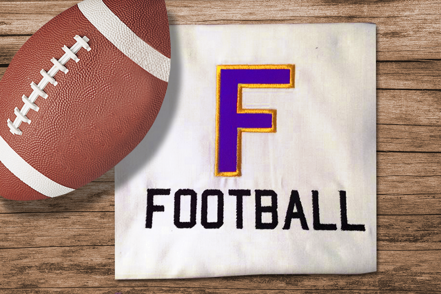 F for Football Applique Embroidery Design example image 1