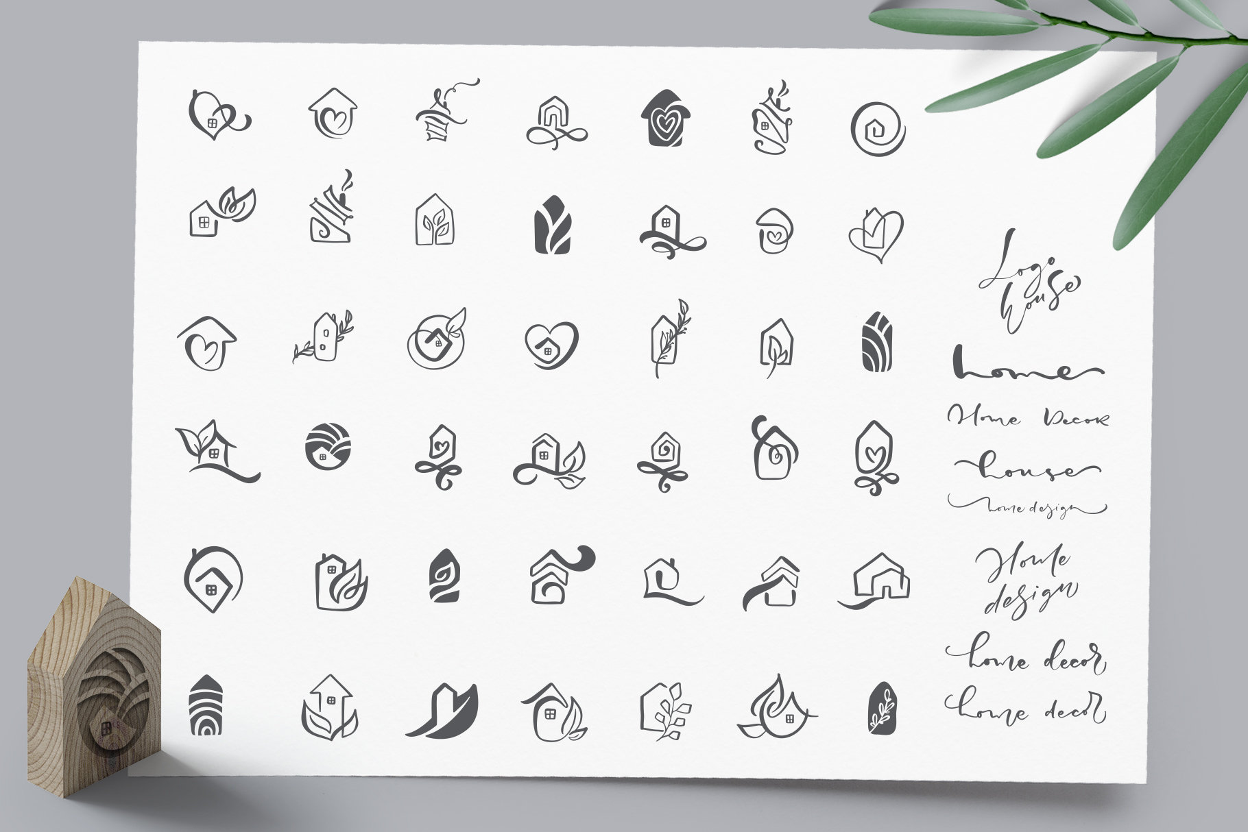 Hand drawn Logo House Vector elements SVG example image 2