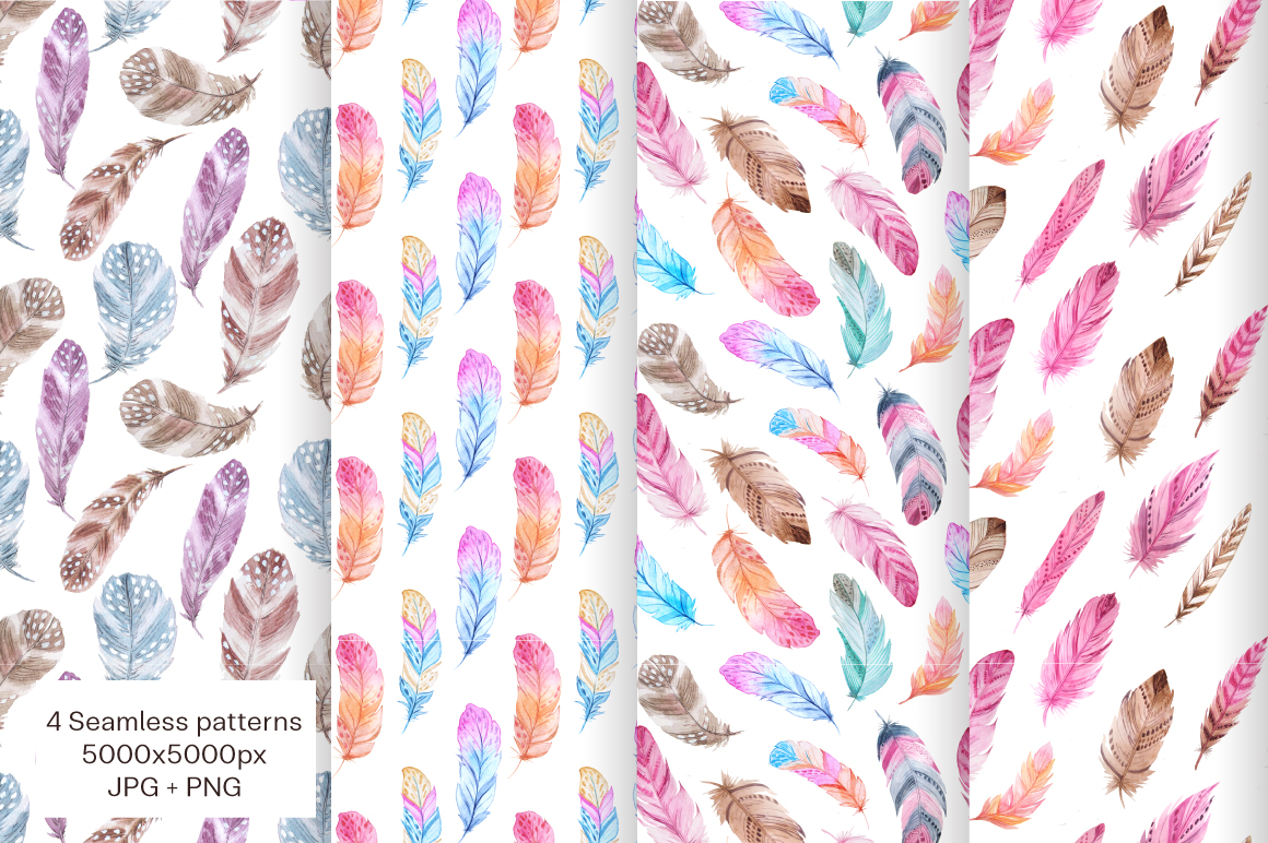 Watercolor Fairytale Feathers Set example image 4