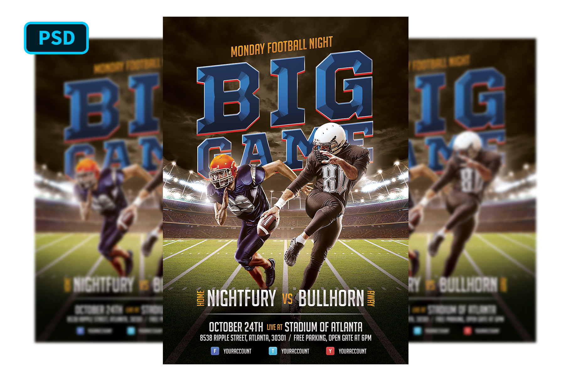 American Football Flyer Template example image 1