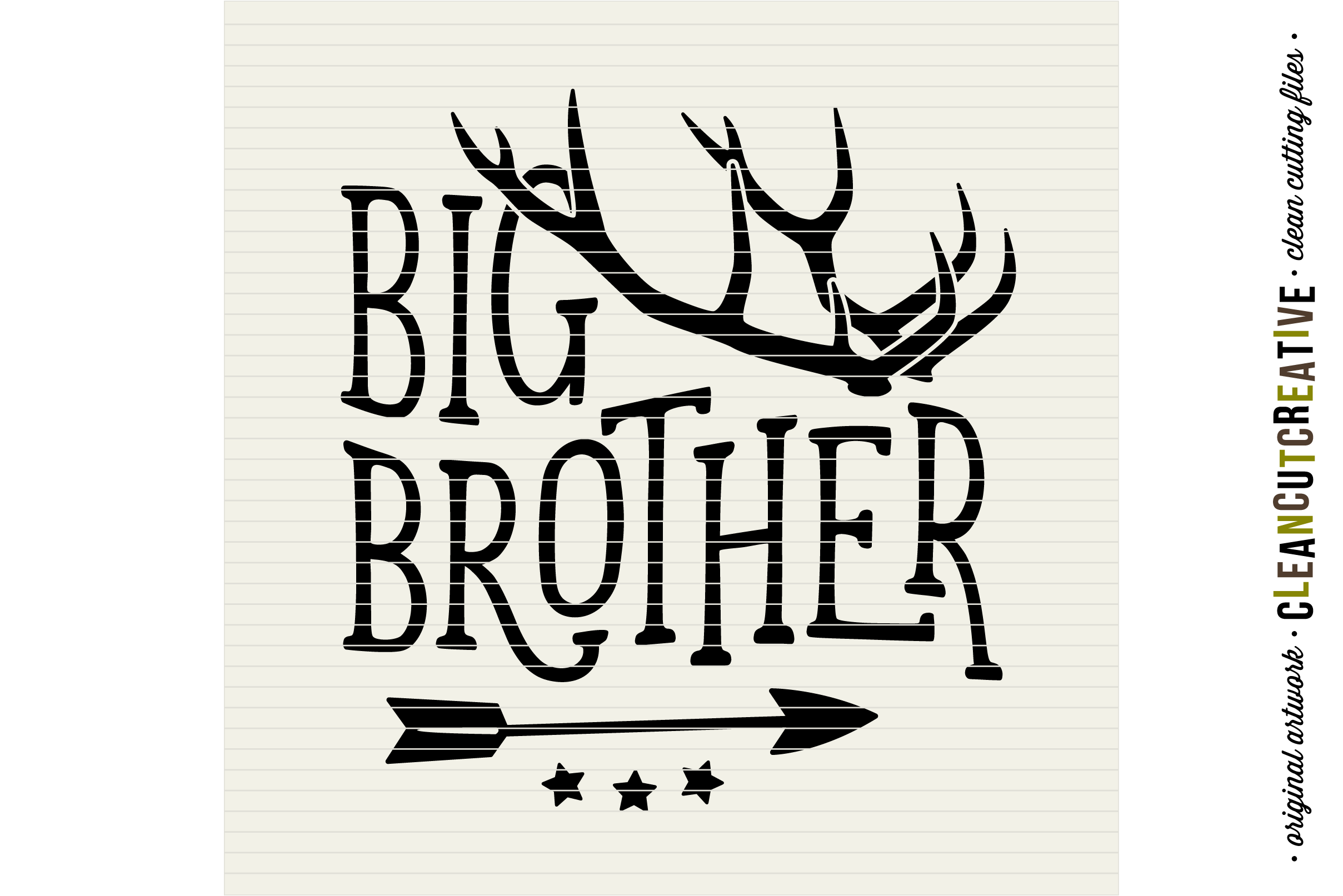 BIG BROTHER cutfile design withantlers and arrow - SVG DXF EPS PNG - cut file cutting file clipart - Cricut and Silhouette - clean cutting files example image 3