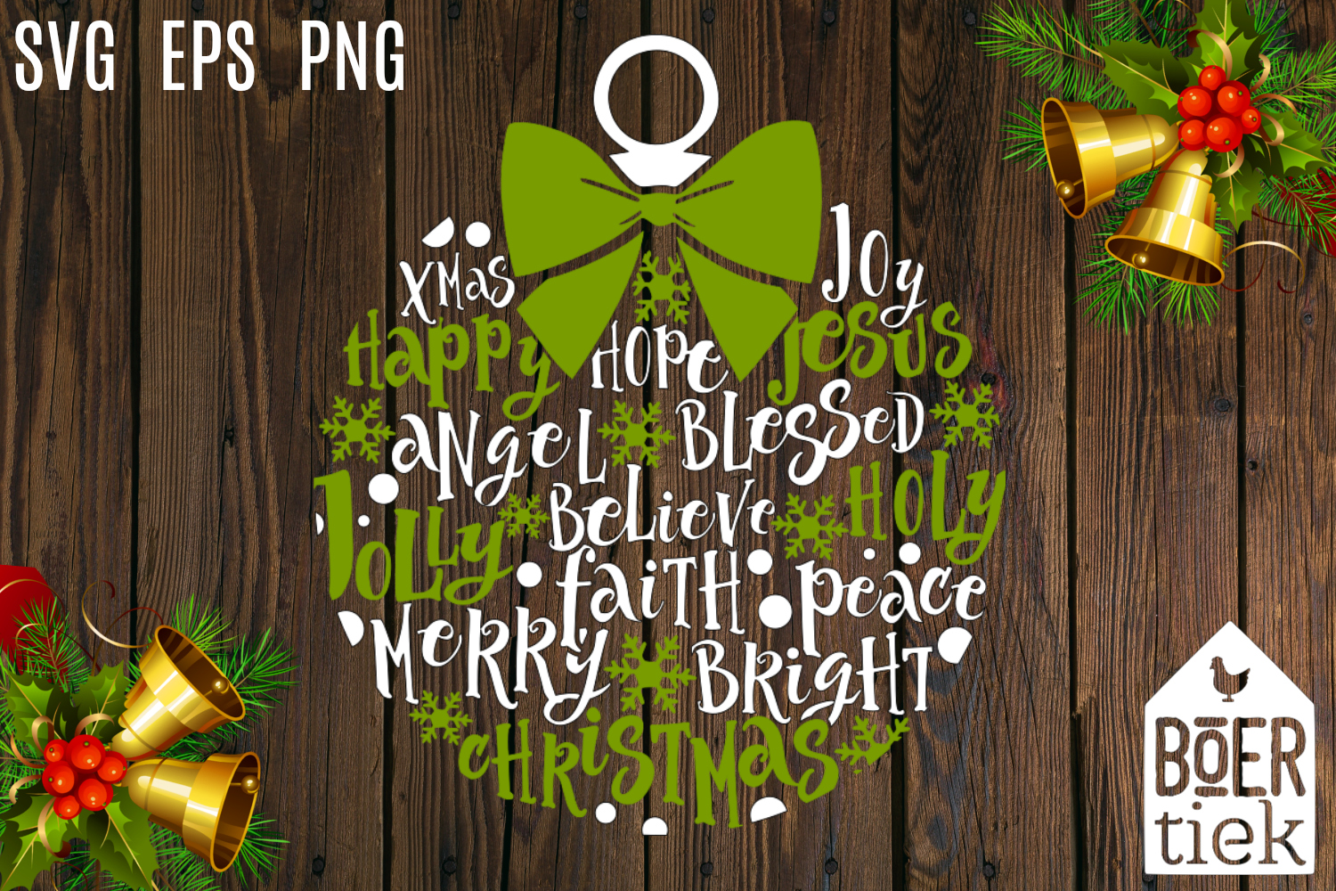 Christmas ornament, home decoration, words and snowflakes example image 1