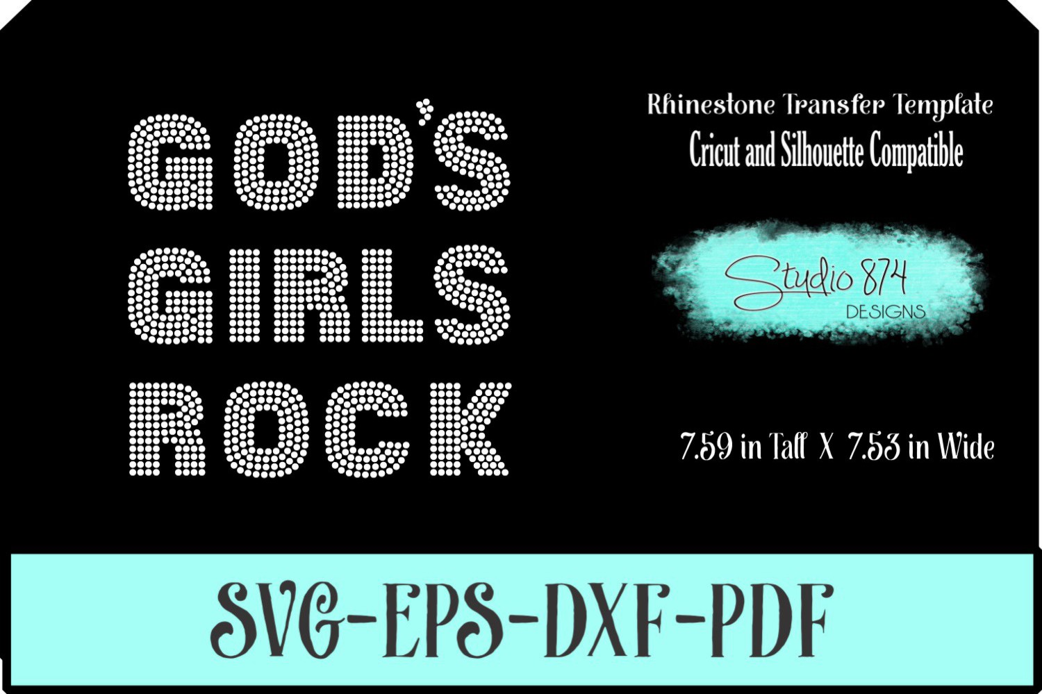 Faith Religious Rhinestone SVG Template - Gods Girls Rock example image 1