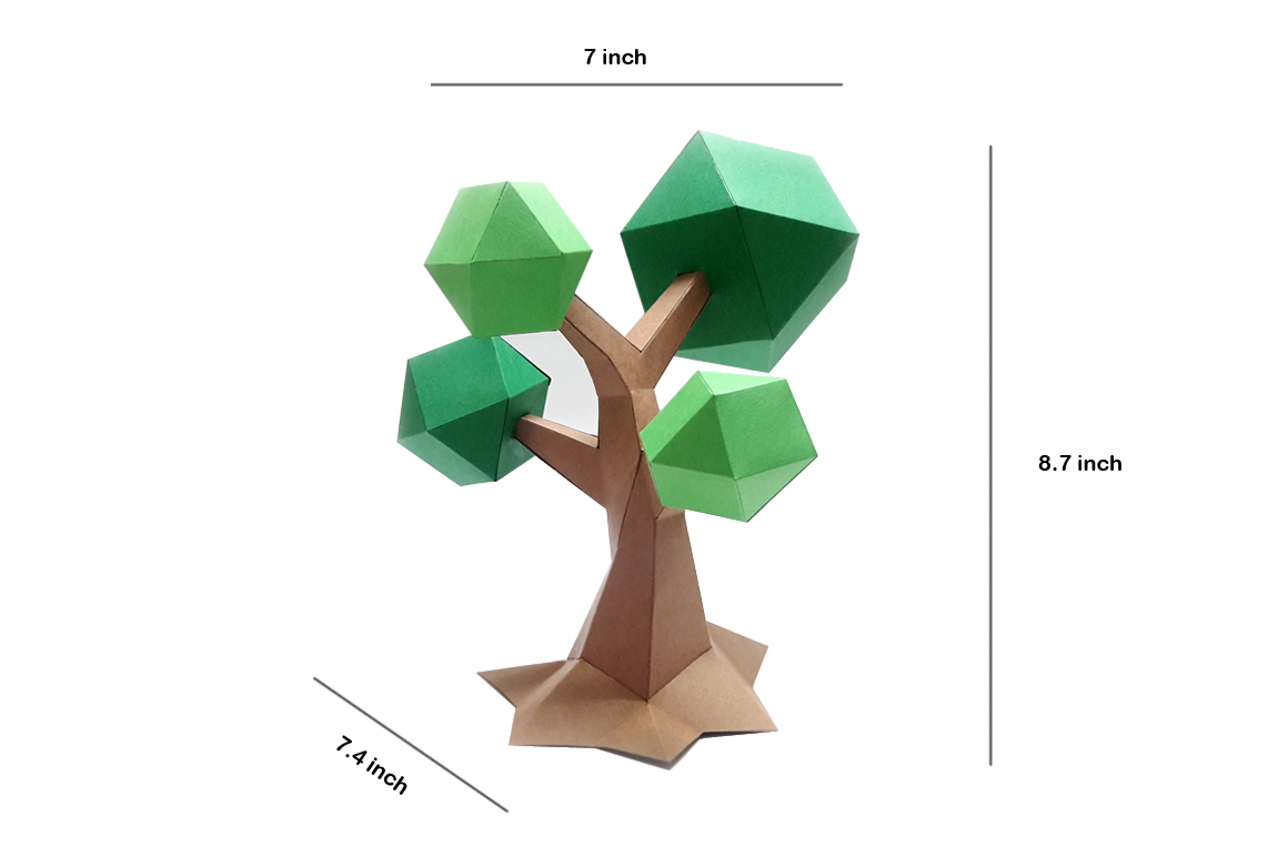DIY Lowpoly Tree - 3d papercraft example image 4
