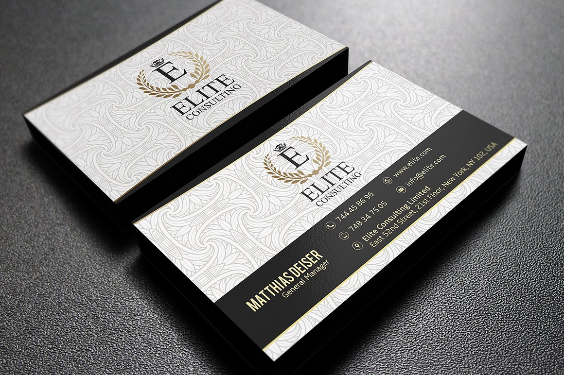 Gold And White Business Card example image 2