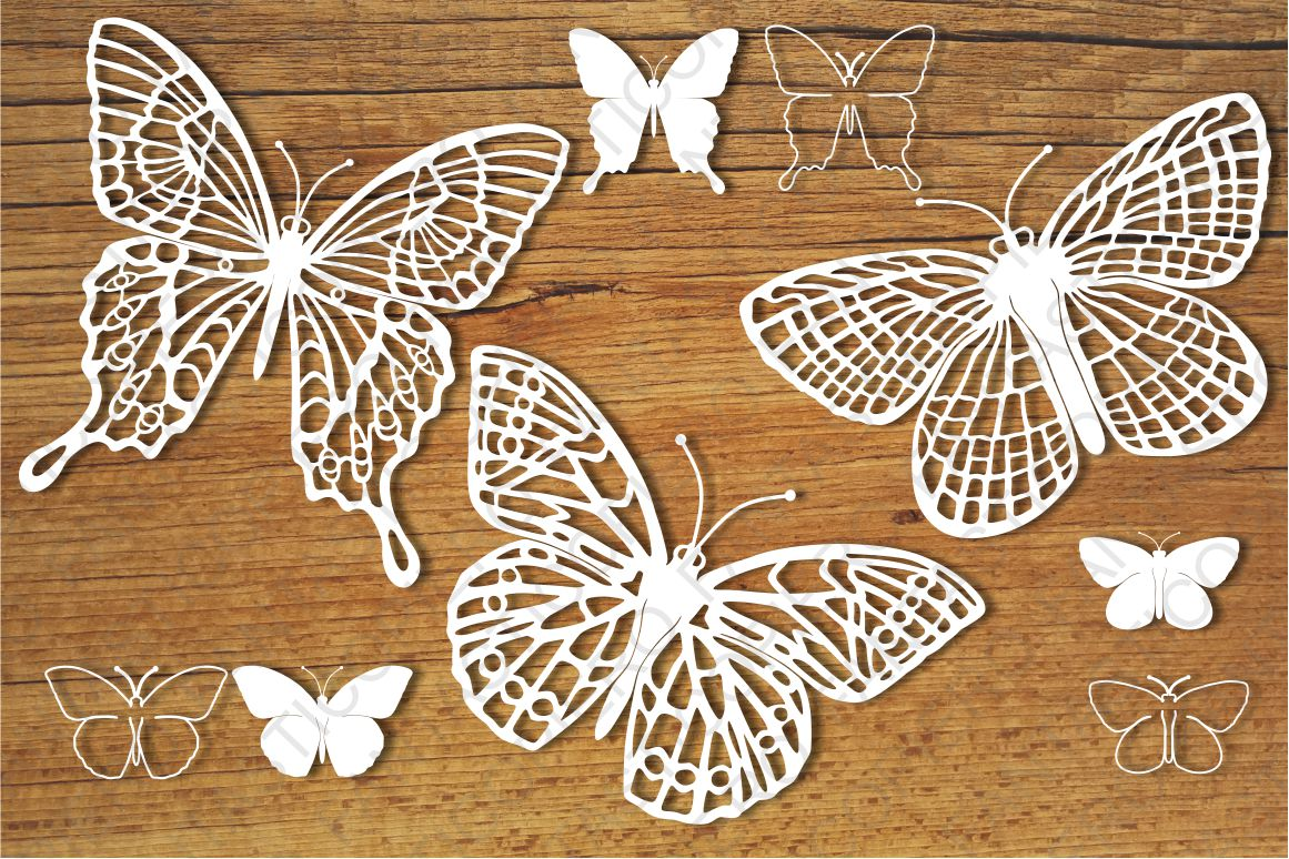Butterflies set 3 SVG files for Silhouette and Cricut. example image 1