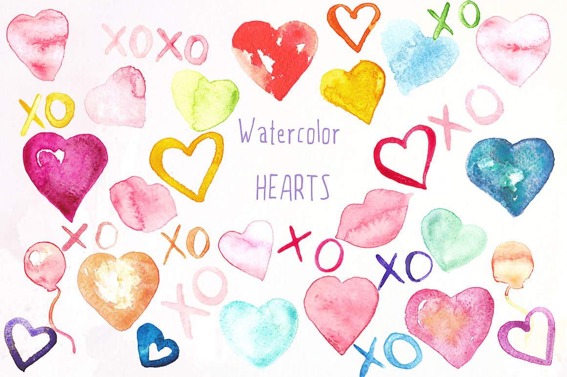 Valentine Hearts watercolor clipart example image 1
