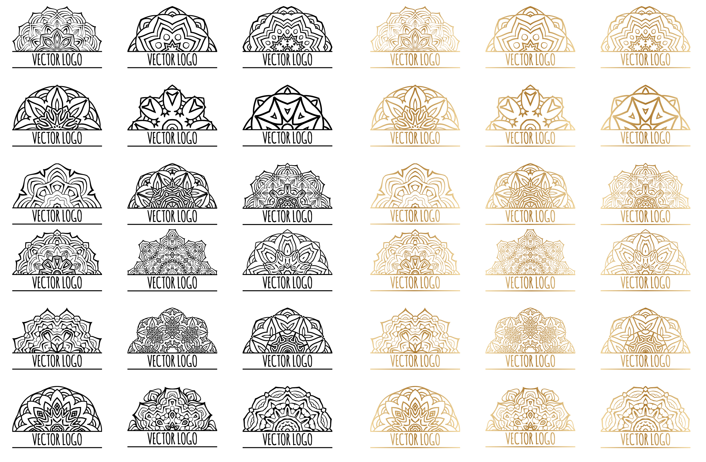 Set of decorative elements. Black and gold example image 2