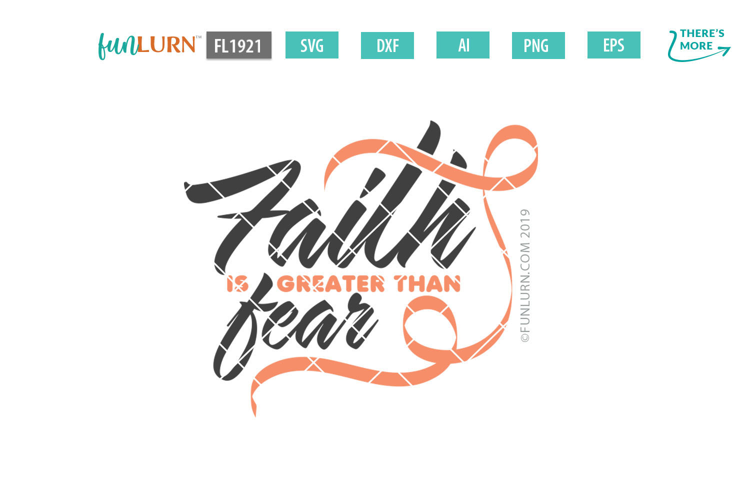 Faith is Greater Than Fear Peach Ribbon SVG Cut File example image 2