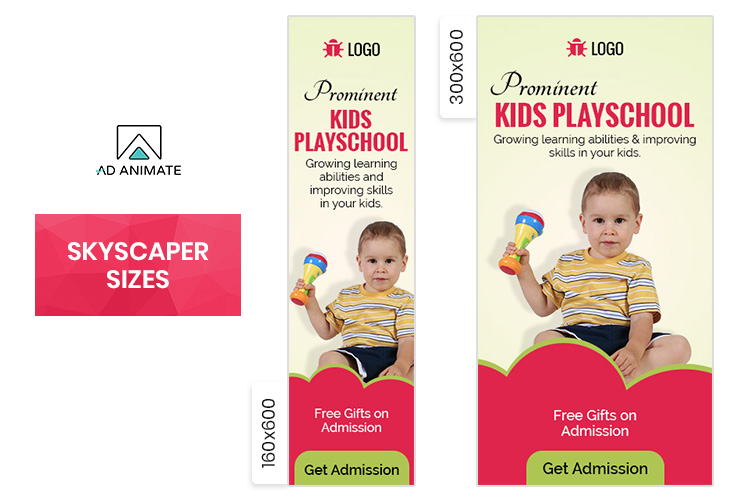 Kids Playschool Animated Ad Banner Template - EI002 example image 3