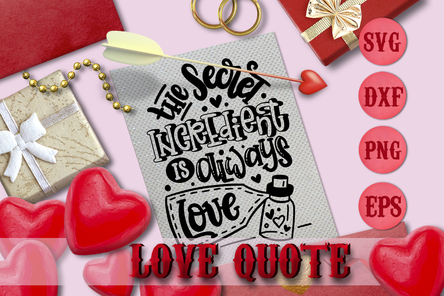 LOVE quote Valentine svg Love SVG for t-shirt example image 1
