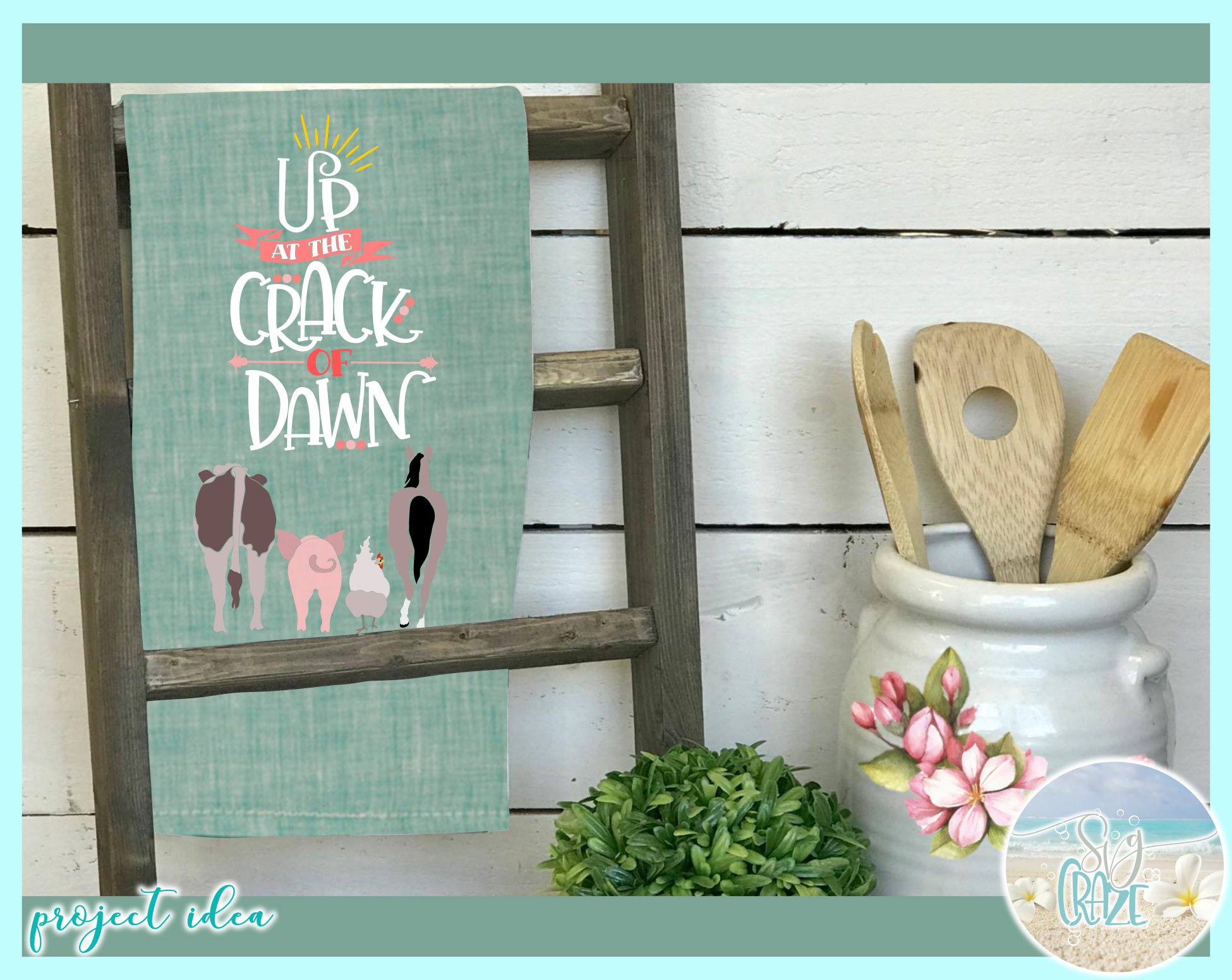 Up At The Crack Of Dawn Country Farm Quote Chicken Cow Horse example image 3