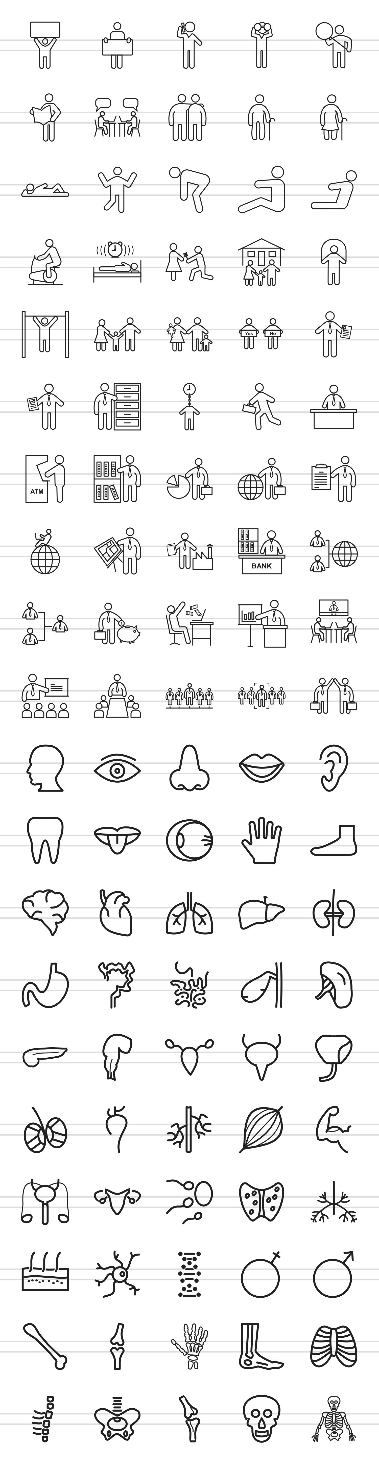 100 Humans & Anatomy Line Icons example image 2