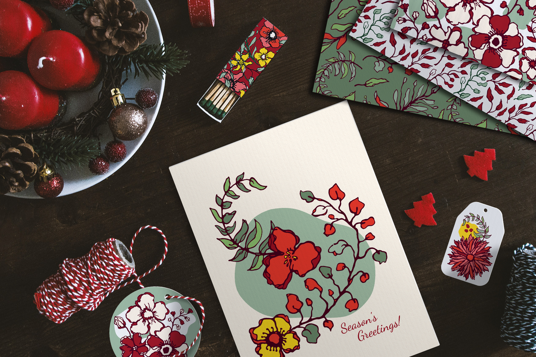 Winter Floral Patterns & Illustrations example image 3