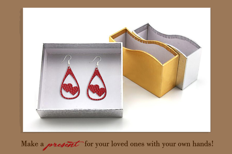 10 Leather earring bundle svg Teardrop earring Necklace example image 8