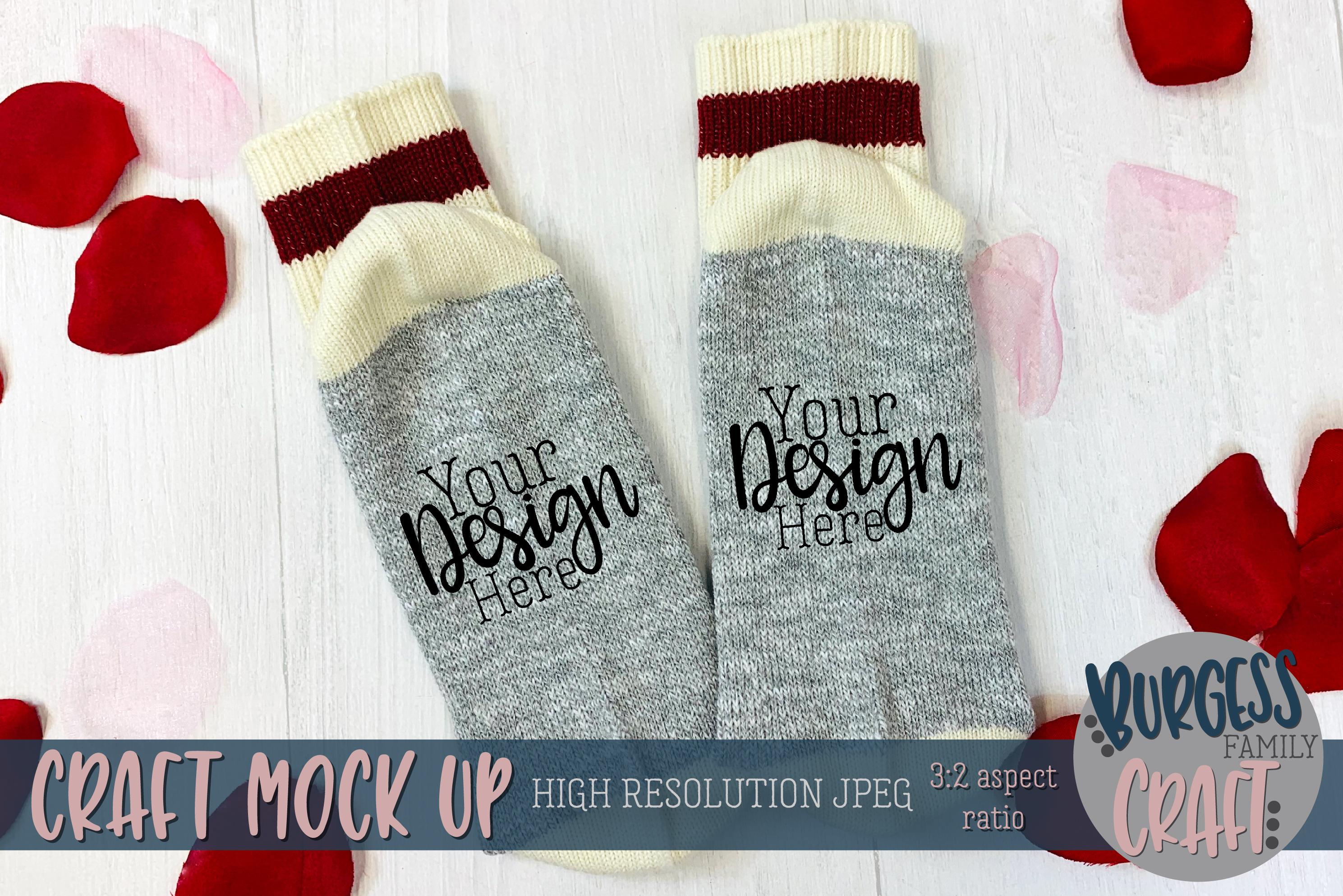 Valentine socks Craft mock up example image 1