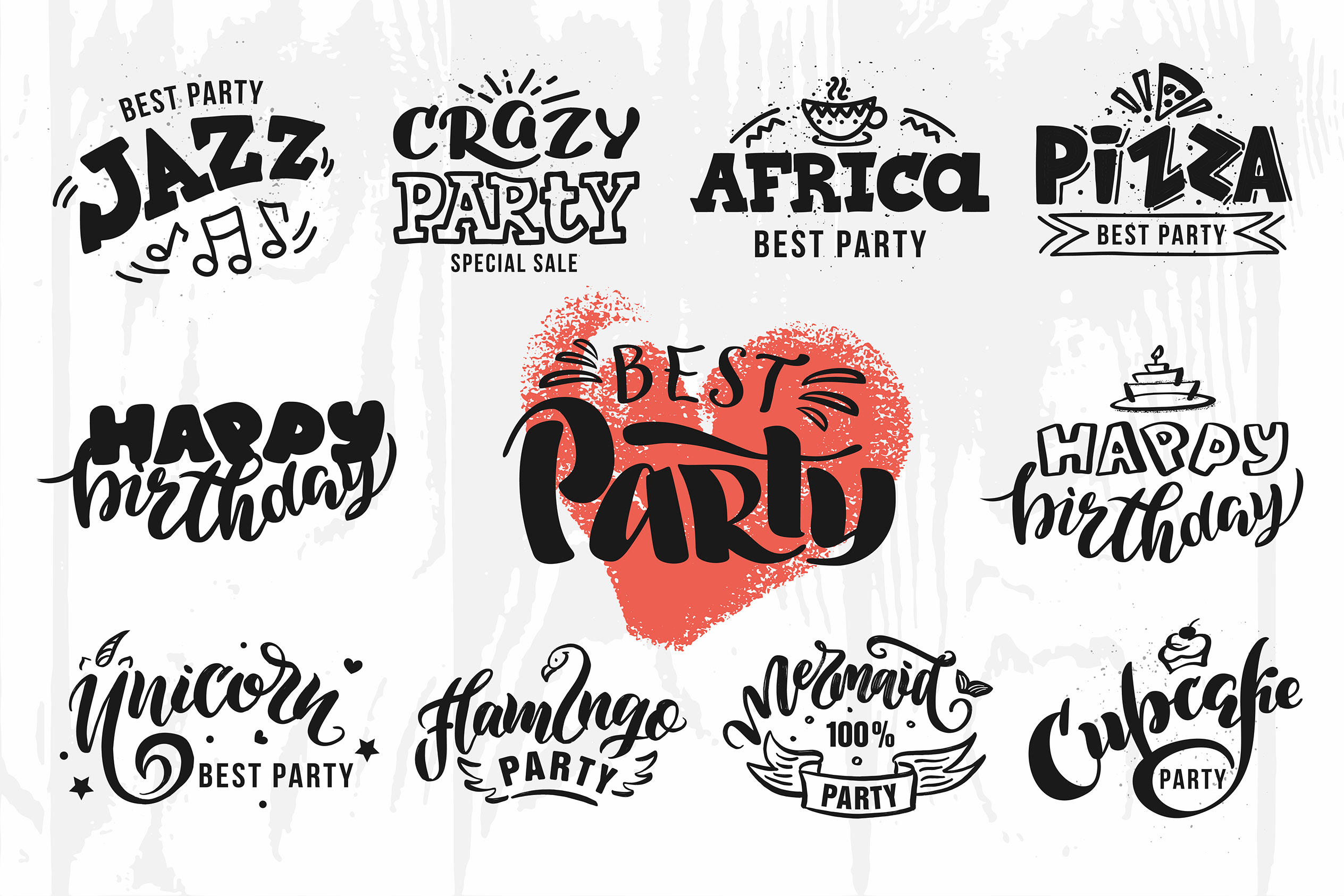 Party lettering, logos set example image 3