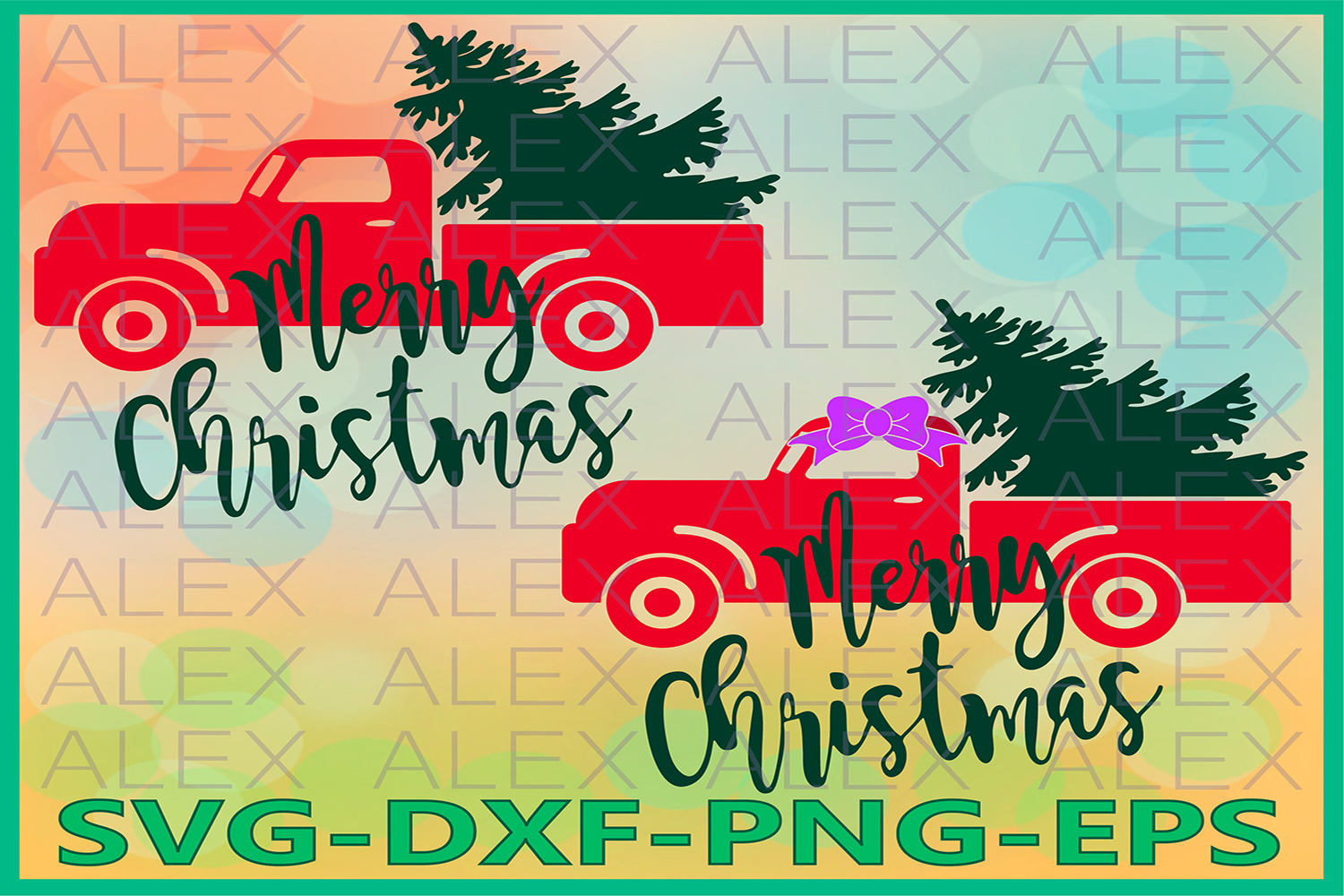 Christmas Tree Truck svg, Merry Christmas SVG example image 1