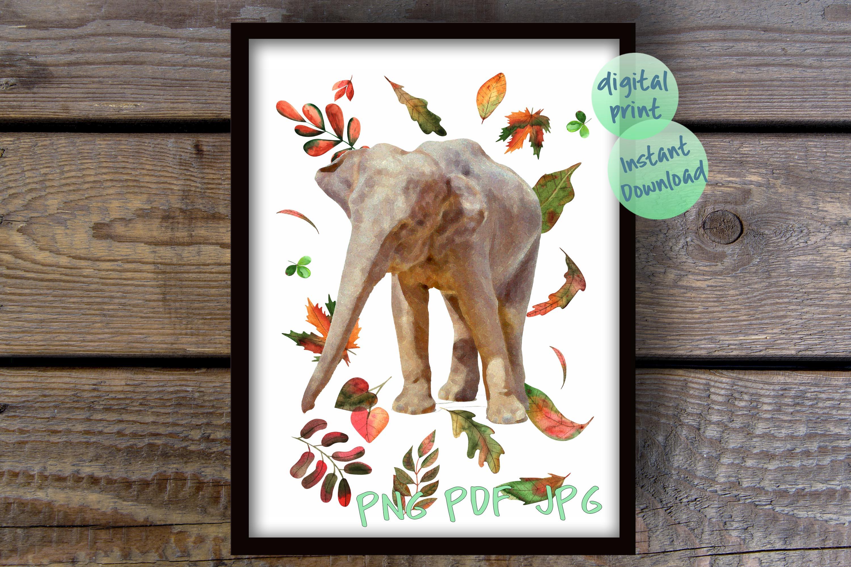 Fall elephant printable files, Elephant nursery poster, example image 3