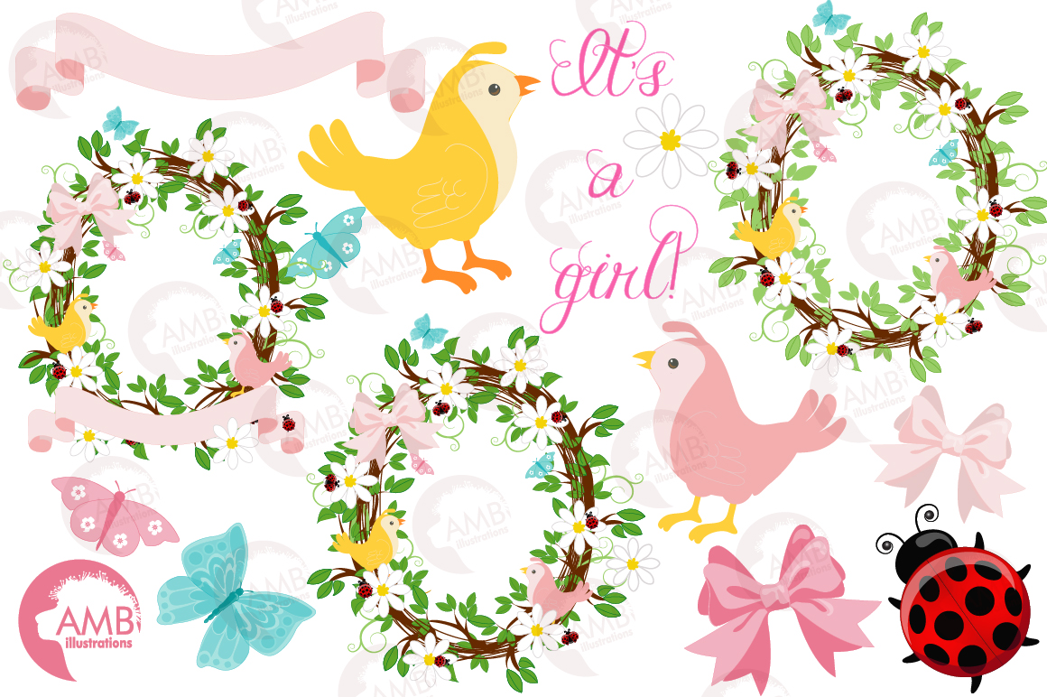 Baby girl shower, Floral wreath clipart example image 4