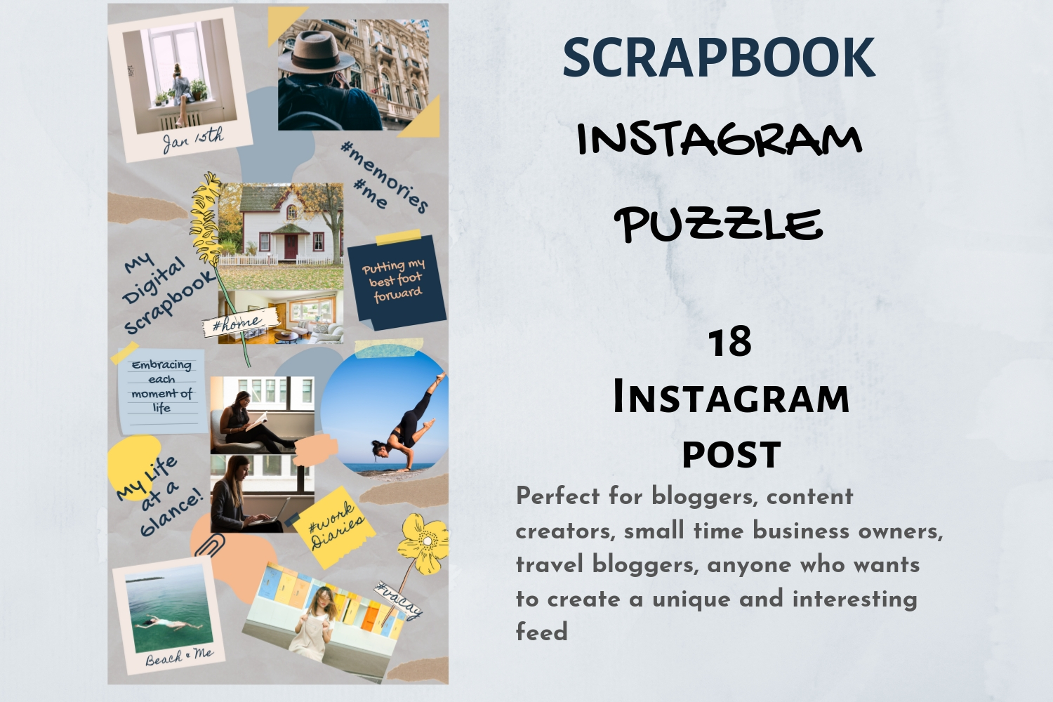 Instagram Puzzle Template Canva- My Scrapbook example image 5